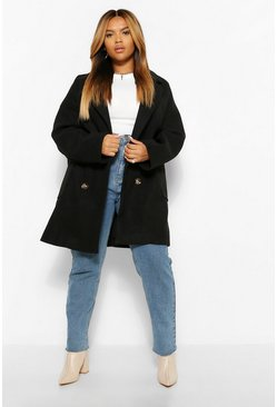 Black PLUS Oversized Double Breasted Wool Look Coat