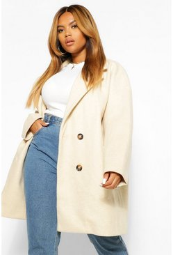 Cream white PLUS Oversized Double Breasted Wool Look Coat