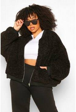 Black Plus Teddy Faux Fur Bomber Jacket