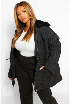 Black Plus Faux Fur Lightweight Parka