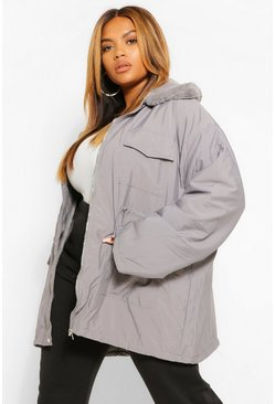 Charcoal grey Plus Faux Fur Lightweight Parka