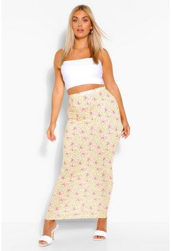 Yellow Plus Floral Print Maxi Skirt