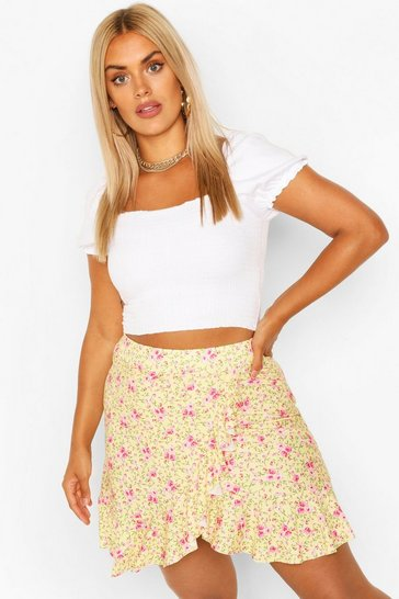 Yellow Plus Floral Ruffle Skater Skirt
