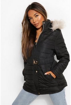 Black Petite Faux Fur Trimmed Puffer Belted Coat