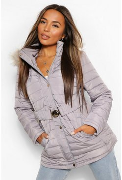 Charcoal grey Petite Faux Fur Trimmed Puffer Belted Coat
