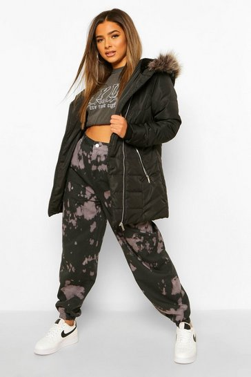 Black Petite Faux Fur Trimmed Puffer Coat