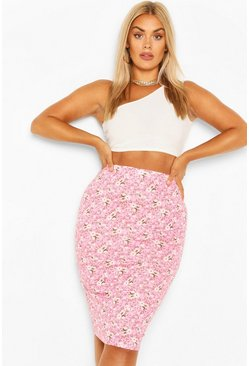 Pink Plus Floral Midi Tube Skirt