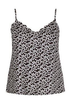 Black Plus Mono Daisy Floral Scallop Edge Cami