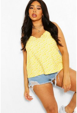 Yellow Plus Mono Daisy Floral Scallop Edge Cami