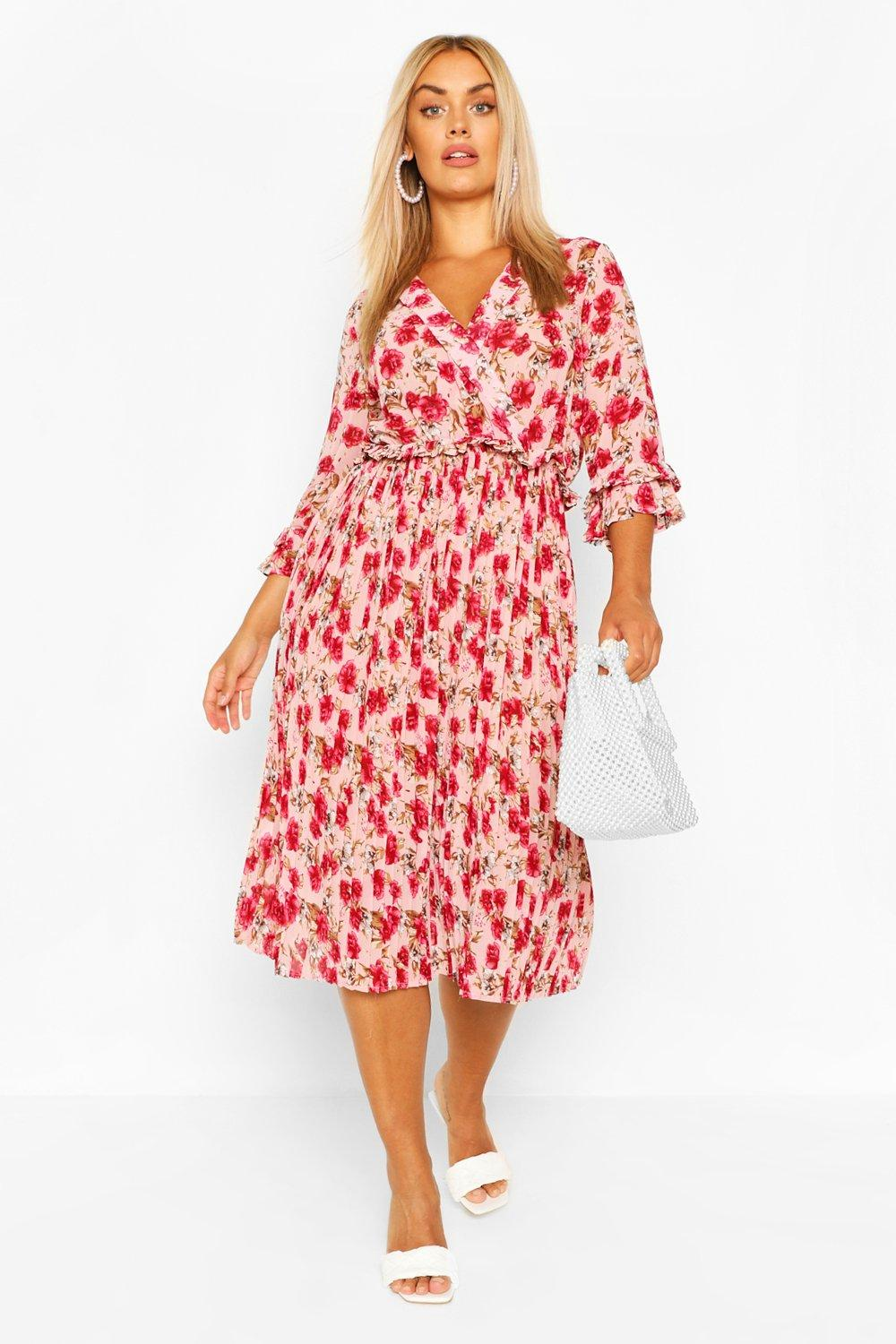 Plus Rose Floral Pleated Midi Dress 6