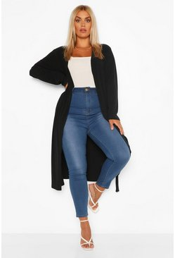 Black Plus Soft Knit Rib Longline Belted Cardigan