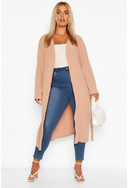 Stone beige Plus Soft Knit Rib Longline Belted Cardigan