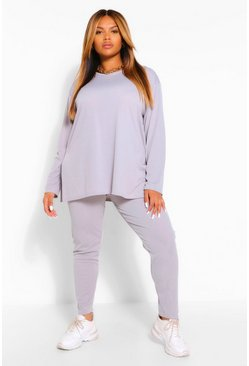 Grey marl grey Plus Soft Knit Crew Neck Side Split Lounge Set