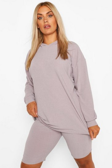 Grey marl grey Plus Soft Knit Hoody & Cycle Short Set