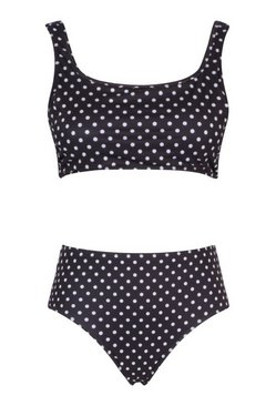 Black Plus Polka Dot Print High Waist Bikini