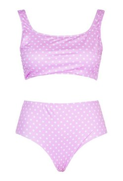 Lilac Plus Polka Dot Print High Waist Bikini