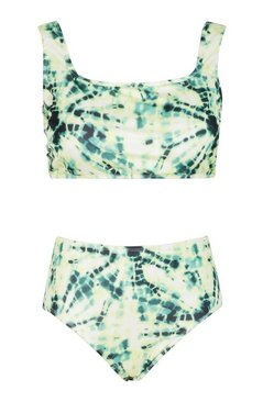 Yellow Plus Tie Dye Print High Waist Bikini