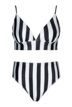 Black Plus Stripe Triangle High Waist Bikini
