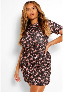 Black Plus Ditsy Floral  Shift Dress