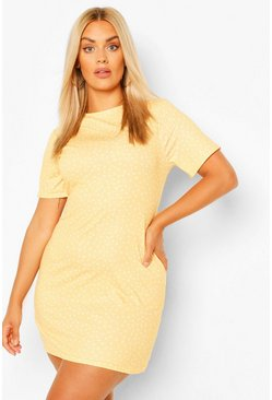 Apricot nude Plus Polka Dot Shift Dress