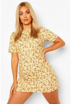 Mustard Plus Ditsy Floral  Shift Dress