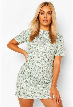 Sage Plus Ditsy Floral  Shift Dress
