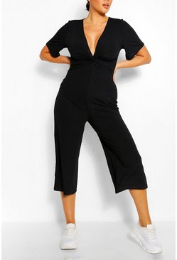 Black Plus Ribbed Twist Detail Jumpsuit