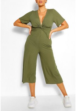 Khaki Plus Ribbed Twist Detail Jumpsuit