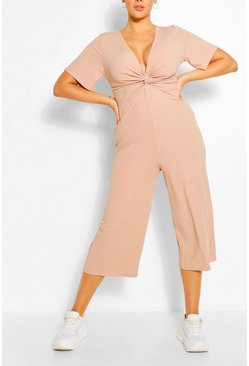 Stone beige Plus Ribbed Twist Detail Jumpsuit