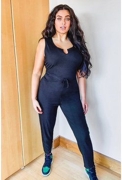 Black Plus Ribbed V Neck Tie Waist Jumpsuit