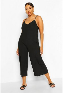 Black Plus Ribbed V Neck Culotte Jumpsuit