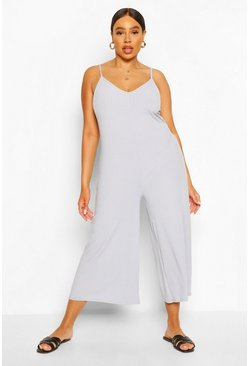 Grey marl Plus Ribbed V Neck Culotte Jumpsuit