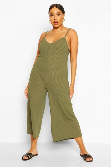 Khaki Plus Ribbed V Neck Culotte Jumpsuit