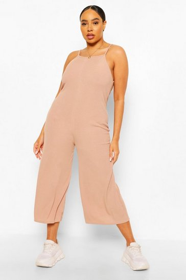 Stone beige Plus Rib Square neck Culotte Jumpsuit