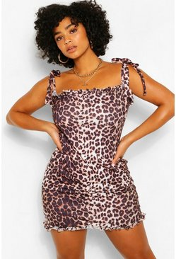 Brown Plus Leopard Tie Shoulder Frill Midi Sundress