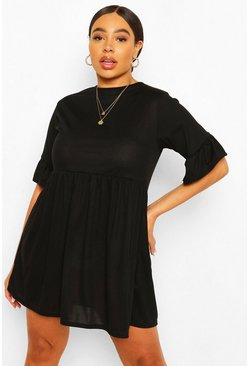Black Plus Soft Rib Ruffle Smock Dress