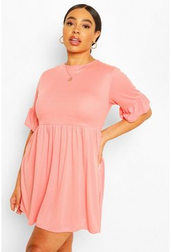 Coral Plus Soft Rib Ruffle Smock Dress