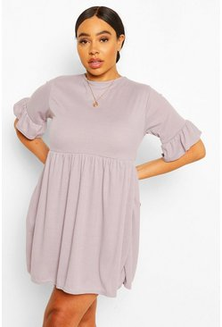 Grey marl grey Plus Soft Rib Ruffle Smock Dress