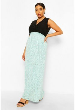 Blue Plus Ditsy Floral Contrast Maxi Dress