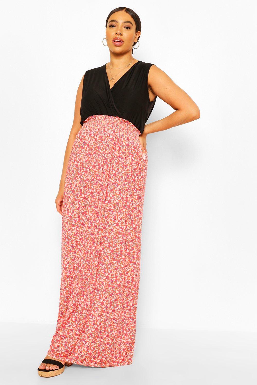 Plus Ditsy Floral Contrast Maxi Dress 6