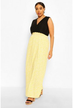 Yellow Plus Ditsy Floral Contrast Maxi Dress