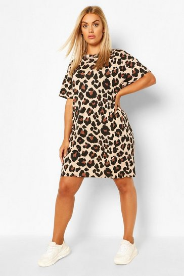 Brown Plus Leopard Jersey T-Shirt Dress