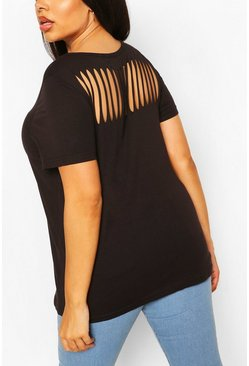 Black Plus Slash Back T-Shirt