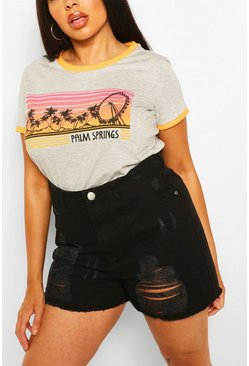 Camiseta con eslogan Palm Springs Plus, Gris