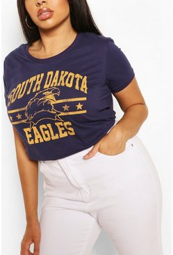 Navy Plus 'Eagles' Slogan T-Shirt