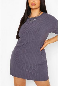Grey Plus Basic Soft Rib Oversized T-Shirt Dress