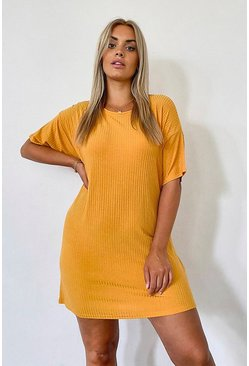 Mustard yellow Plus Basic Soft Rib Oversized T-Shirt Dress
