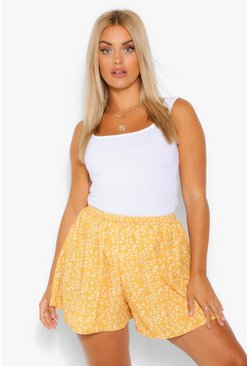 Plus Woven Elasticated Ditsy Floral Flippy Short, Mustard