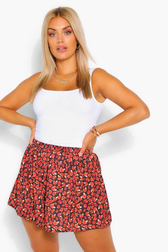 Plus Woven Elasticated Floral Flippy Short