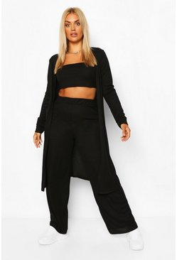 Black Plus Rib 3 Piece Duster Co-Ord